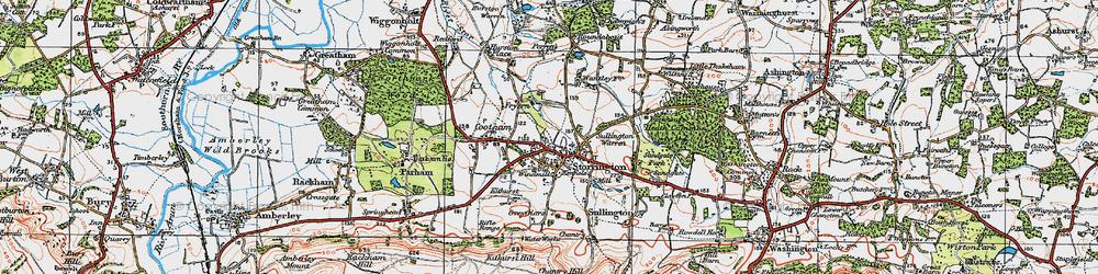 Old map of Storrington in 1920
