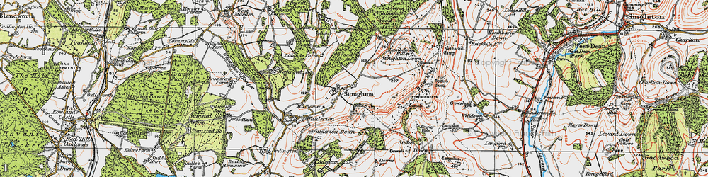 Old map of Stoughton in 1919