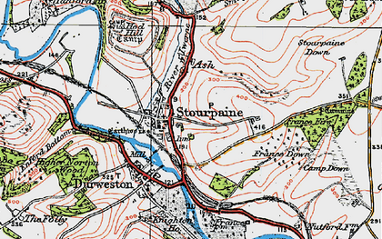 Old map of Stourpaine in 1919