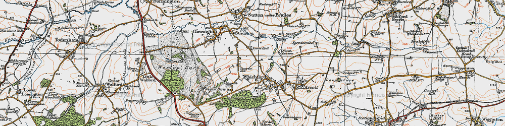Old map of Whichford Mill in 1919