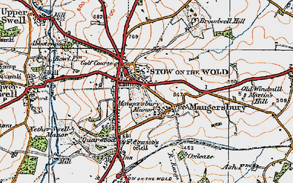 Old map of Stow-on-the-Wold in 1919