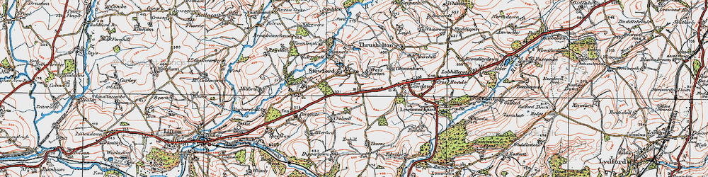 Old map of Wreys Barton in 1919