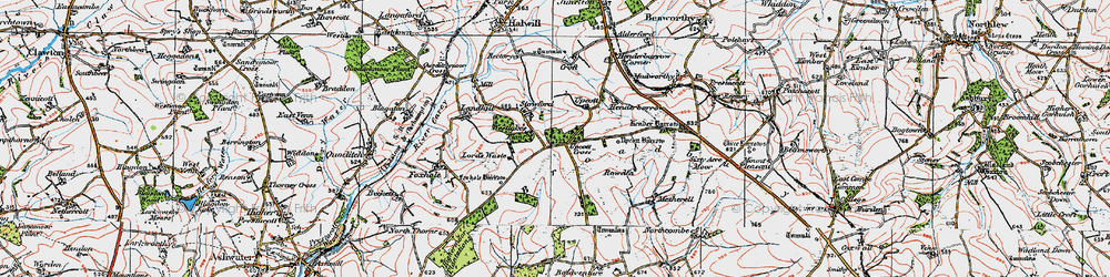 Old map of Westlake's Plantns in 1919
