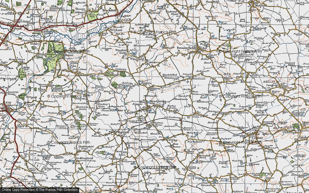Old Map of Stradbroke, 1921 in 1921