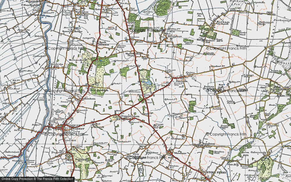 Old Map of Historic Map covering Toombers Wood in 1922