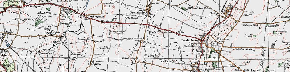 Old map of Leadenham Low Fields in 1922