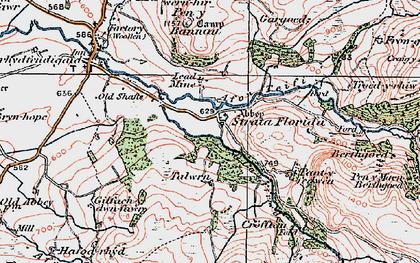 Old map of Afon Fflûr in 1923