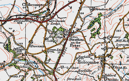 Old map of Stratton-on-the-Fosse in 1919
