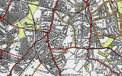 Old map of Streatham in 1920