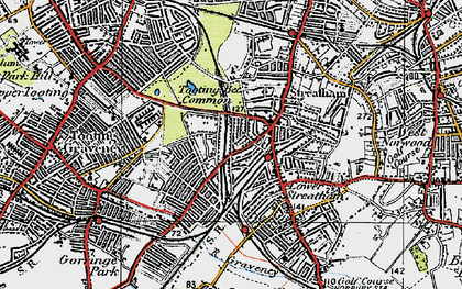 Old map of Tooting Bec Common in 1920