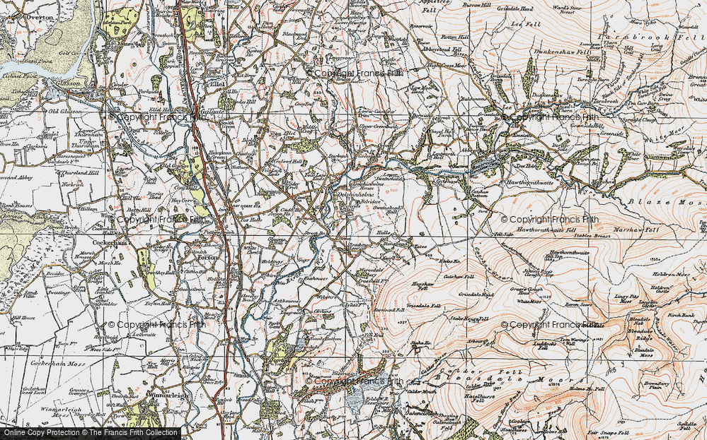 Old Map of Historic Map covering Lea Green in 1924