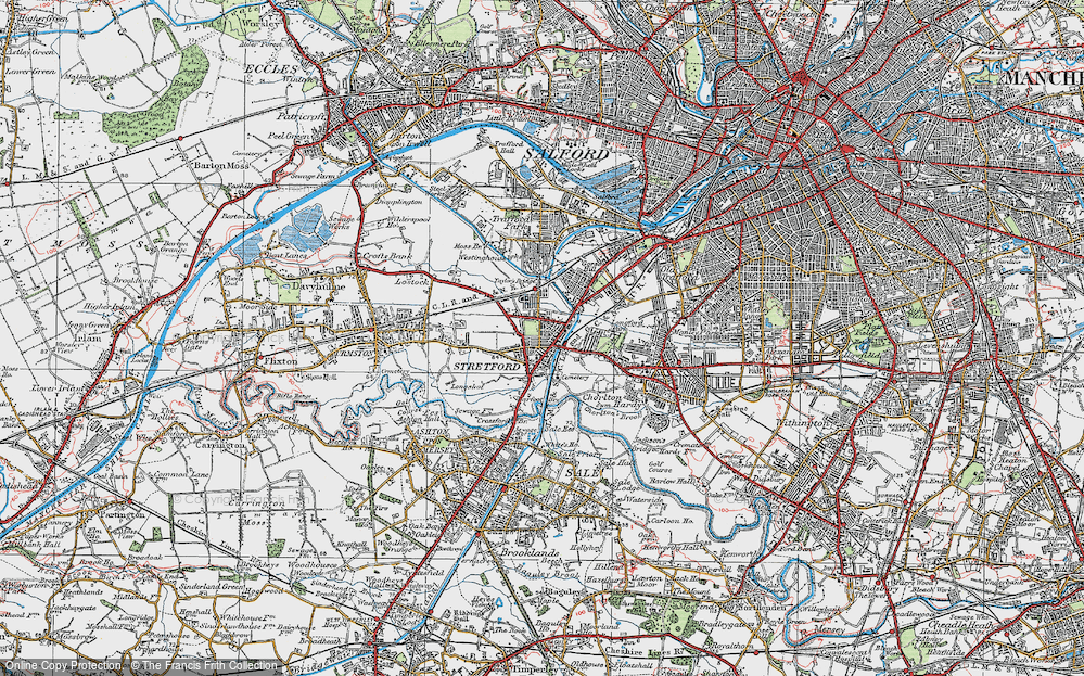 Old Map of Historic Map covering Barfoot Br in 1924