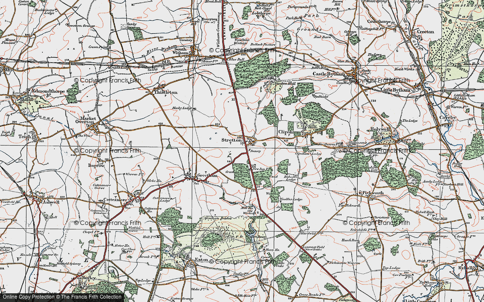 Old Map of Historic Map covering Woolfox Wood in 1922