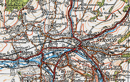 Old map of Stroud in 1919