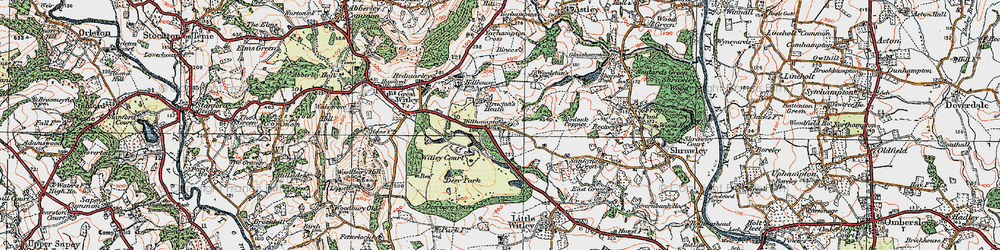 Old map of Witley Court in 1920
