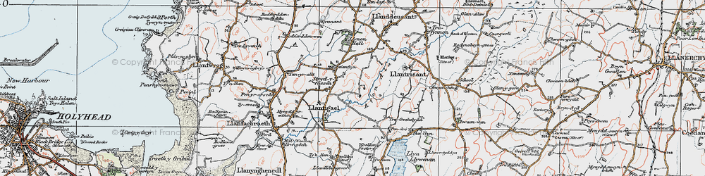 Old map of Afon Alaw in 1922