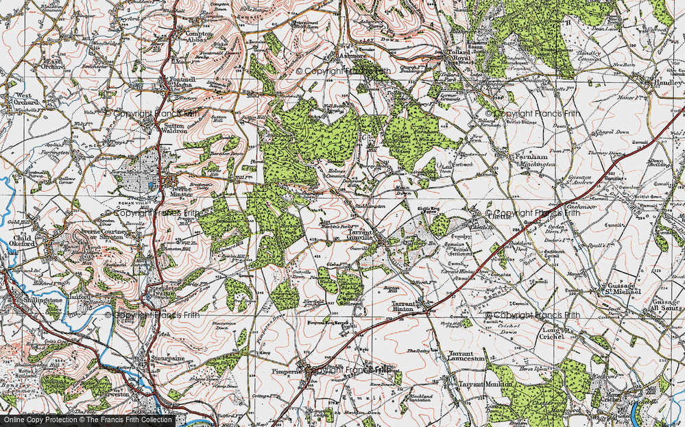 Old Map of Historic Map covering Ashmore Bottom in 1919
