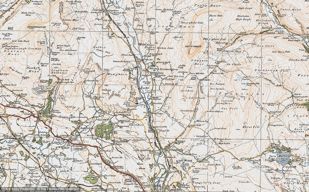 Old Map of Historic Map covering Larch Tree Hole in 1924