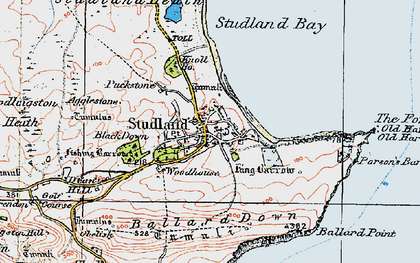 Old map of Ballard Down in 1919