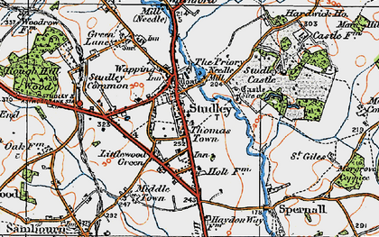 Old map of Studley in 1919
