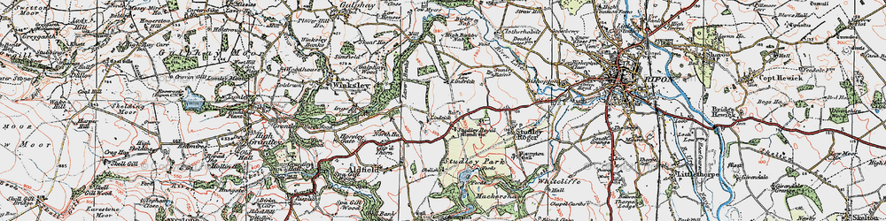 Old map of Studley Royal in 1925