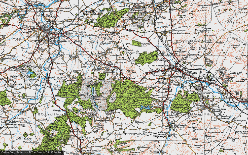 Old Map of Historic Map covering Whitbourne Springs in 1919