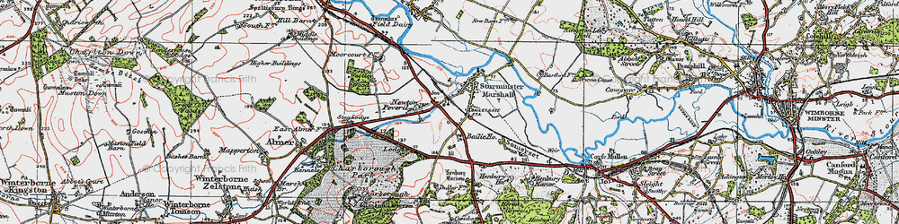 Old map of Sturminster Marshall in 1919