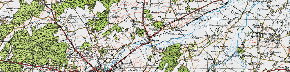 Old map of Sturry in 1920