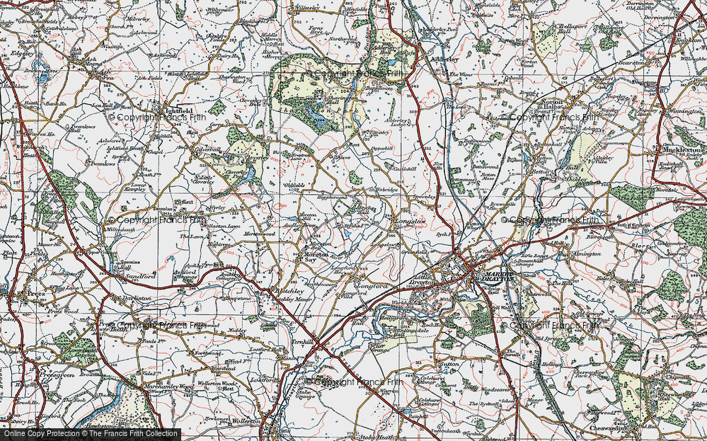 Old Map of Historic Map covering Audley Brow in 1921
