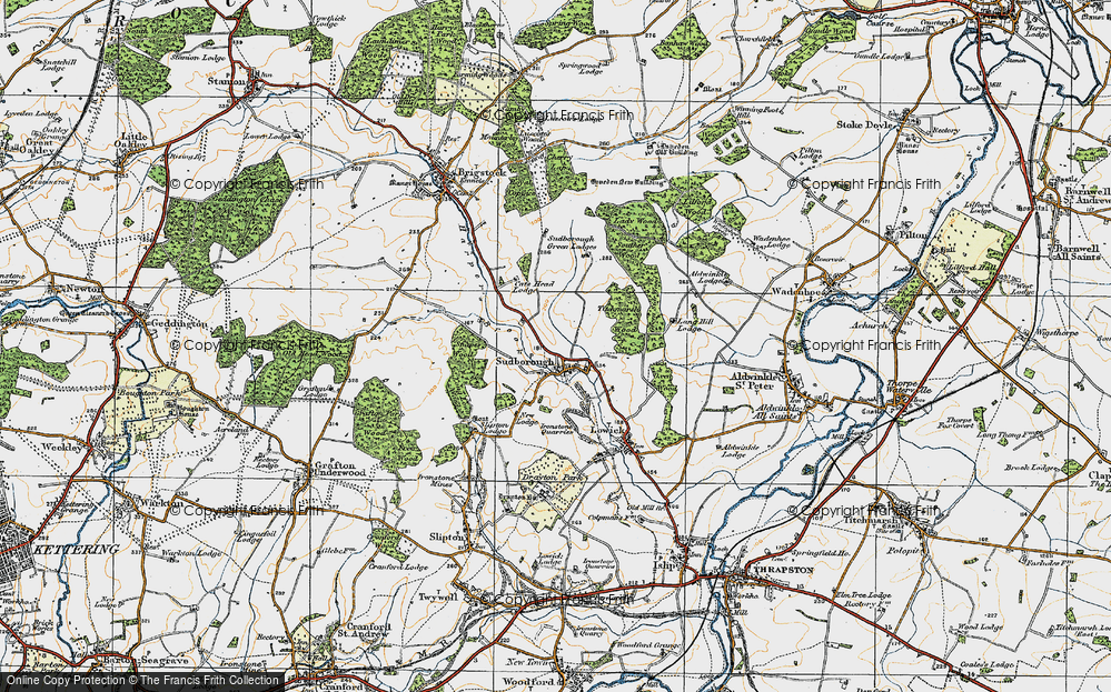 Old Map of Historic Map covering Lilford Wood in 1920
