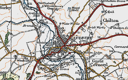 Old map of Sudbury in 1921