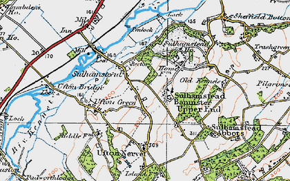 Old map of Sulhamstead in 1919