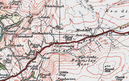 Old map of Whinhaugh in 1925