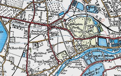 Old map of Sunbury in 1920