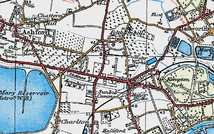 Old map of Sunbury Common in 1920