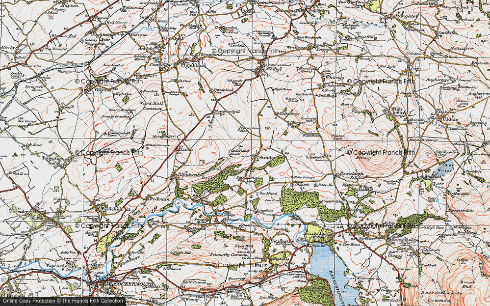 Old Map of Historic Map covering Linskeldfield in 1925
