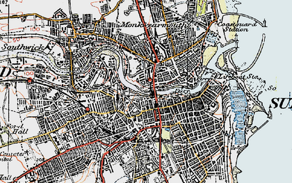 Old map of Sunderland in 1925