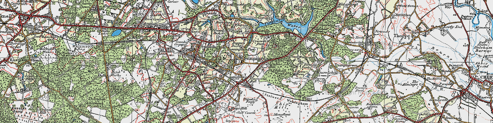 Old map of Sunningdale in 1920