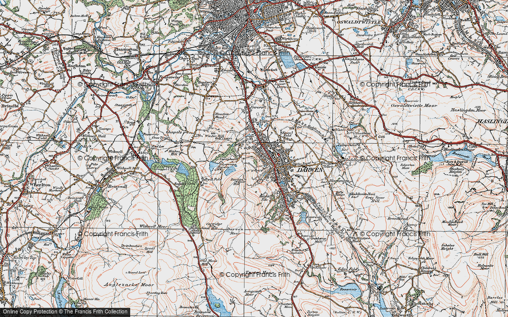 Old Map of Historic Map covering Blackburn with Darwen in 1924