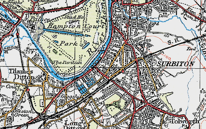 Old map of Surbiton in 1920