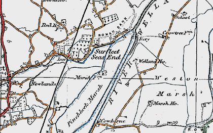 Old map of Wragg Marsh Ho in 1922