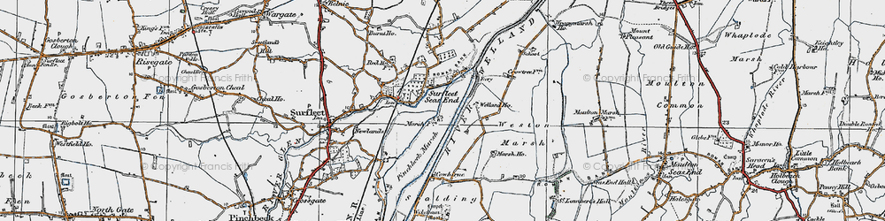 Old map of Weston Marsh in 1922