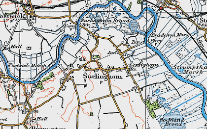 Old map of Surlingham in 1922