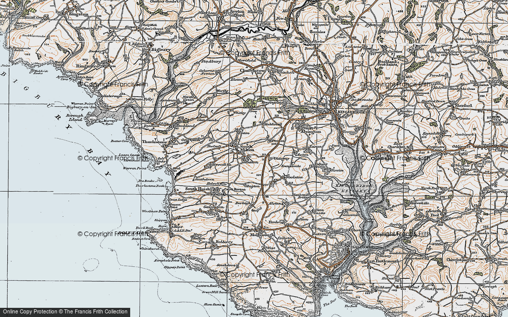 Old Map of Historic Map covering Bagton in 1919