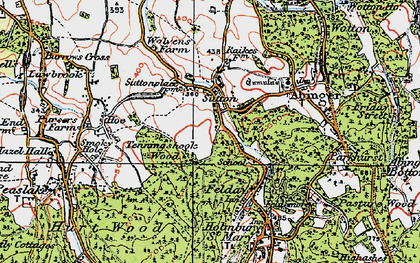 Old map of Sutton Abinger in 1920