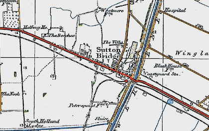 Old map of Sutton Bridge in 1922