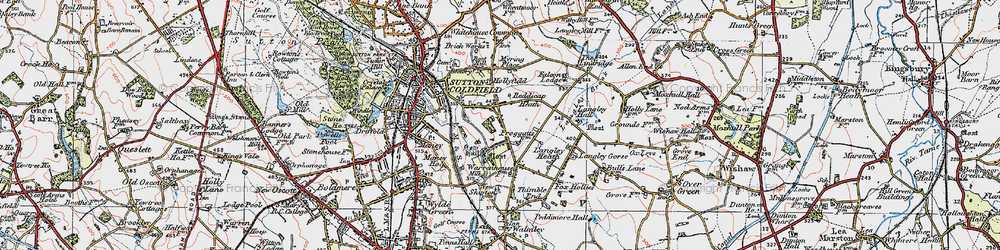 Old map of Sutton Coldfield in 1921
