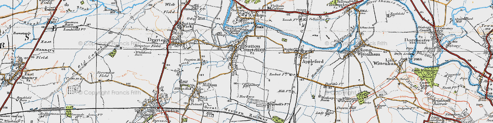 Old map of Sutton Courtenay in 1919