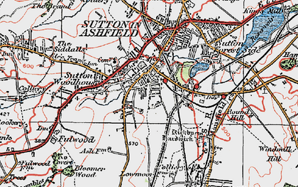 Old map of Sutton In Ashfield in 1923