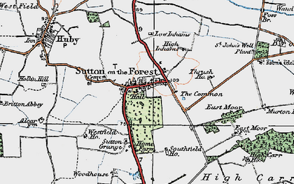Old map of Sutton-on-the-Forest in 1924